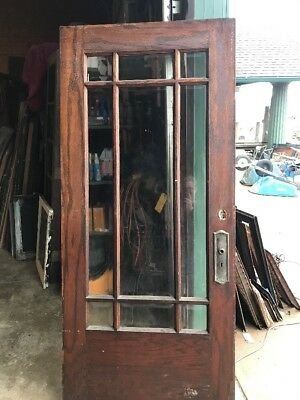 An 449 Antique Beveled Glass Townhouse Entry Door 35.75 X 80
