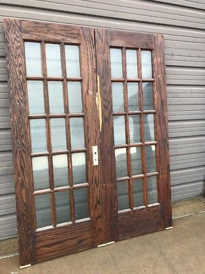 An 451 Matched Pair Antique Oak Flat Glass French Doors 60.5 X 79
