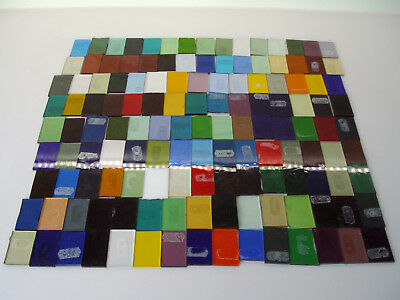 Vintage Stained Glass Sample Set - 130+ pieces @ 30mm x 45mm approx. Free P+P UK