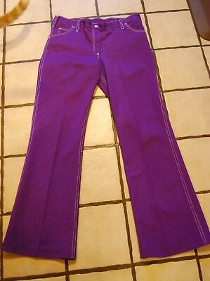 Vintage Retro 1970s Pants Bell Bottoms Purple Polyester Womens Size 11 Sears