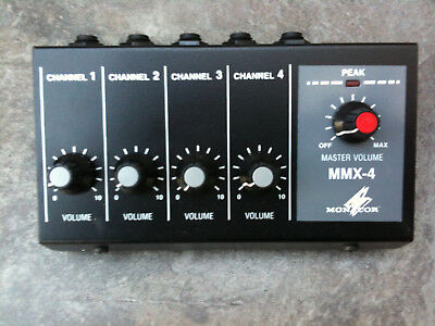 Brand New Boxed Monacor Four Channel Powered Mixer With Peak Level Led Battmains