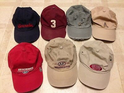 Lot Of 7 Vintage Rare Abercrombie & Fitch Hat Leather Strap Back Soft Cap Golf