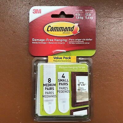 12 3M Command Strips Medium & Small Picture Frame Canvas Damage free Hanging Set