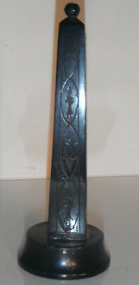 Antique Victorian EBONY OBELISK CARVING with Detailed Figures Decoration