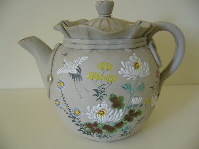 Pretty Antique Japanese Banko Teapot With Applied Cranes And Flowers