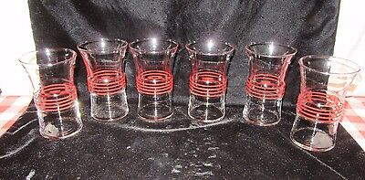 6 Vintage Flared Mid-Century Drink Glasses w/Red Stripe Bands Around Middle-NICE