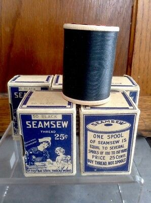 Antique Seamsew Cotton Sewing Thread Box Spools Bay State Thread Lot Of 5 Black