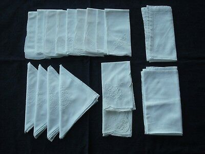 Job lot 17 various vintage style white napkins/serviettes H10