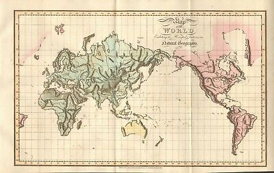 1809 Antique Map - Map Of The World Exhibiting The Principal Features In Natural