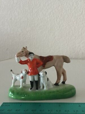 Vintage Small Figurine Fox Hunt English Hunter, Dogs, and Horse Japan