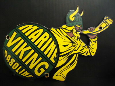 "Old 1956 Marine Viking Gasoline Porcelain Sign "" Made In Usa"""