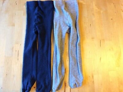 John Lewis 12-18 months two pairs tights grey and navy blue girls