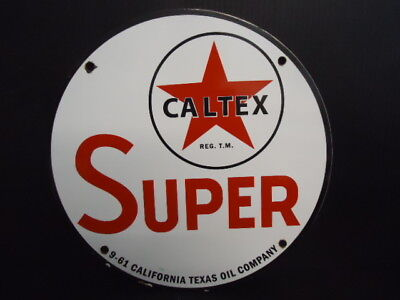 Old 1961 Caltex Super  Porcelain Gas And Oil Service Station Pump Sign