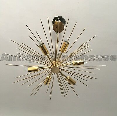 Solid Brass Mid Century Urchin Chandelier 6 Arms Adorned Ceiling Light Fixture