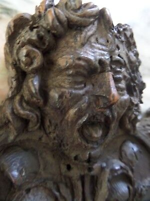 17th Century Carved Oak Grotesque Masked Panel
