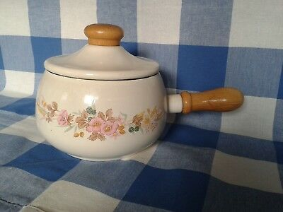 Vintage Retro Enamel Sauce Pan With Lid - Cream With Floral Design