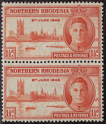 NORTHERN RHODESIA MNH Scott # 46a Peace Perf 13.5 variation pair (2 Stmps)-7 (2)
