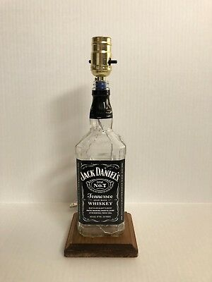 Jack Daniels Bottle Lamp!  Jack Daniels Whiskey, Wooden Stained Base