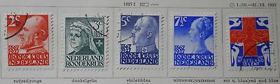 Netherlands 1927 Red Cross, complete set, Mi #196-200, MH/used