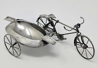 Vtg. 1940s Mexican STERLING SILVER BICYCLE & SIDECAR Ashtray, Signed J. Gratacos