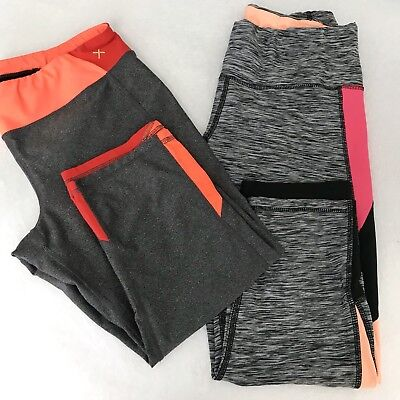Lot of 2 Crop Leggings Yoga Run Active Capri Womens Large Cropped RBX Xersion