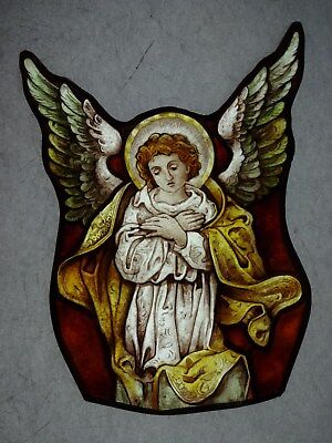Beautiful Stained glass.ANGEL.Hand painted.Kiln fired.220x160mm.Antique style.