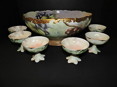 "Antique T&V Limoges France Depose Punch Bowl with 6 Cups ""Dated 1902"""