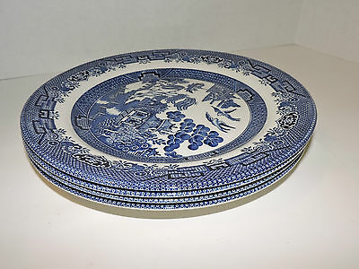 "Churchill ""Blue Willow""  Made in Staffordshire England (4) Dinner Plates"