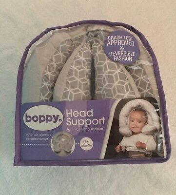NEW - Boppy Newborn Infant Toddler Car Seat Head and Neck Support Headrest. Gray