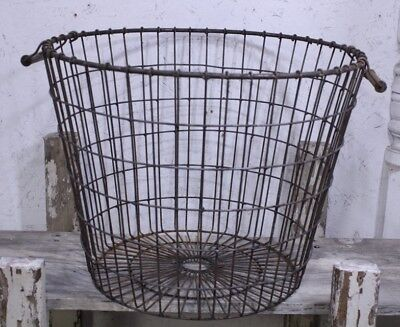 Wrought Iron Large Round Basket Laundry Industrial Container