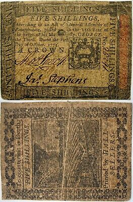 1773 Pennsylvania CROWN Note (5 shillings), Fine, sharp, cleanly used, but nice