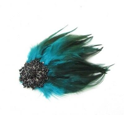 Teal Blue Green Black Diamante Feather Fascinator Hair Clip Races Vintage 5274