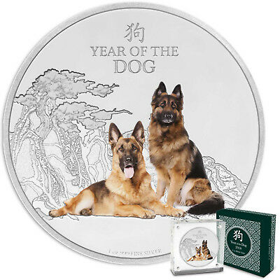 Year of the Dog - German Shepherds 2018 Niue 1oz Silver Coin