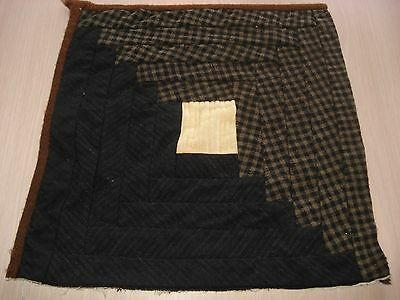 Antique Wool Log Cabin Quilt Block - Primitive Look - Projects - 11.5 Inch - #1