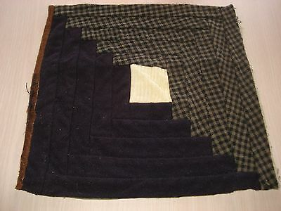 Antique Wool Log Cabin Quilt Block - Primitive Look - Projects - 11.5 Inch - #9