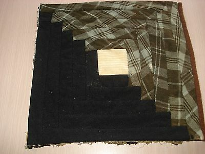 Antique Wool Log Cabin Quilt Block - Primitive Look - Projects - 11.5 Inch - #8