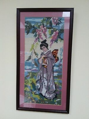 framed tapestry picture of Japanese lady in national dress