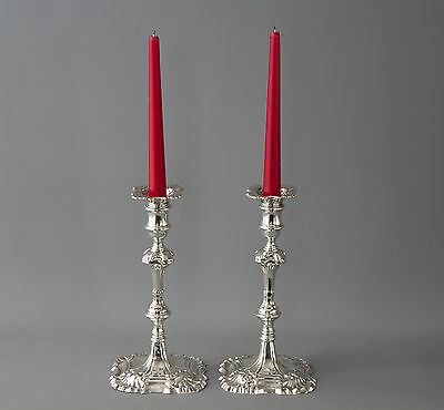 A Very Fine Pair of Cast Silver Candlesticks by William Cripps London 1759
