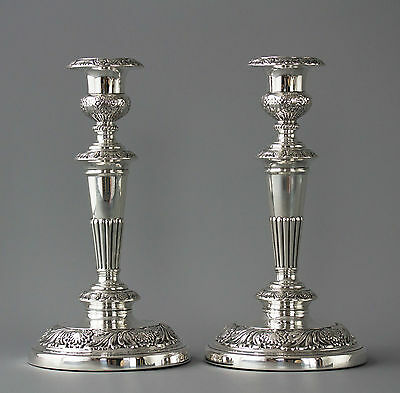 A Very Good Pair of Georgian Silver Table Candlesticks Sheffield 1820