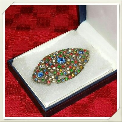 Vintage Brooch Art Deco Pot Metal Rhinestone Pin Blue Red Green Yellow Clear