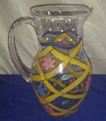 Vintage Flower Glass Water Pitcher Maybe Hand Blown Glass PRETTY