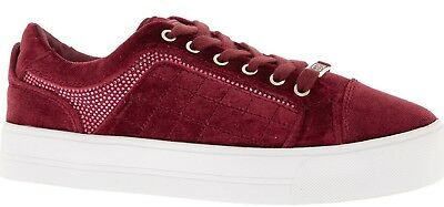 Authentic GUESS Women's Burgundy Velvet Trainers / Sneakers UK-4.5 / 5 / 5.5 / 7