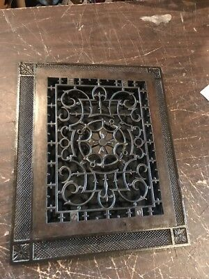 T 38 antique cast-iron floor grate with frame 14.25 x 17.25