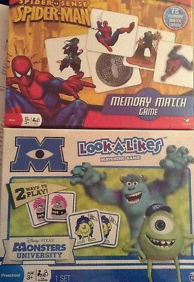 New Monsters University Look A Likes / Spiderman Memory Match Game ~ Choose Own