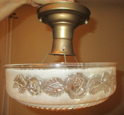 ANTIQUE Art Deco Victorian Frosted Pink Glass Ceiling Light Shade Cover 3 Chain