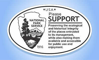 NATIONAL PARK SERVICE USA SUPPORT Oval Bumper Sticker Travel Decal