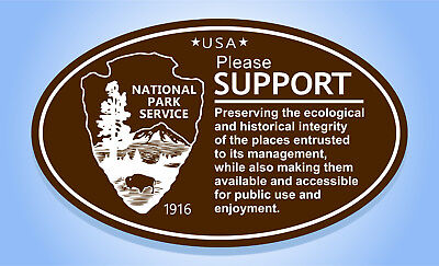 NATIONAL PARK SERVICE USA SUPPORT (Brown) Oval Bumper Sticker Travel Decal