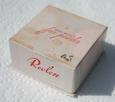 VINTAGE 1940's REVLON WIND-MILLED FACE POWDER MAKEUP 2 oz BOX PEACH ICING NOS