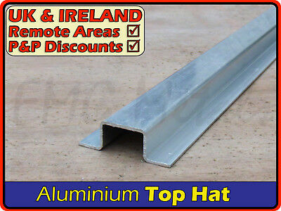 Aluminium Top Hat Section║aprx 50 x 15 mm║(channel gutter U profile flanged)