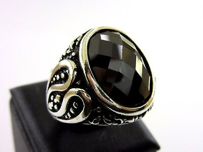 Turkish Handmade Ottoman Style 925 Sterling Silver Onyx Men's Ring Size 10.75
